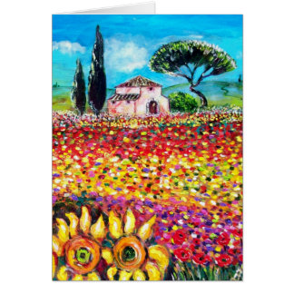 FLORA IN TUSCANY Poppies and Sunflowers Greeting Card