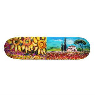 FLORA IN TUSCANY, red green yellow pink Skate Board Deck