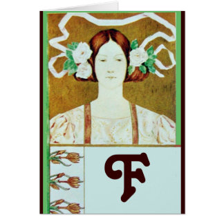 FLORA / LADY WITH WHITE ROSES MONOGRAM CARD