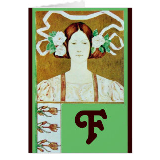 FLORA/ LADY WITH WHITE ROSES MONOGRAM CARD