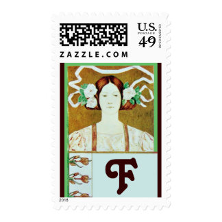 FLORA/ LADY WITH WHITE ROSES MONOGRAM POSTAGE STAMP