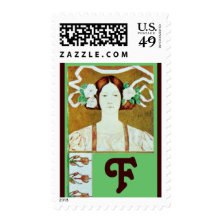 FLORA/ LADY WITH WHITE ROSES MONOGRAM POSTAGE STAMPS