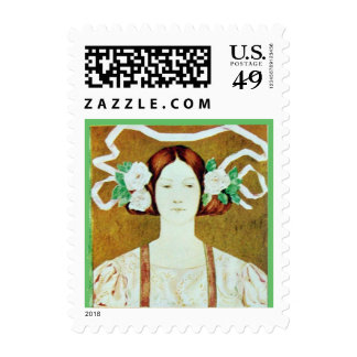 FLORA/ LADY WITH WHITE ROSES POSTAGE STAMPS