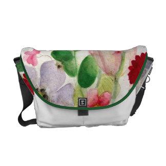 Flora Network and pink watercolor Tulip handbag Courier Bag