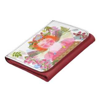 Flora Network and pink watercolor Tulip Leather Trifold Wallets