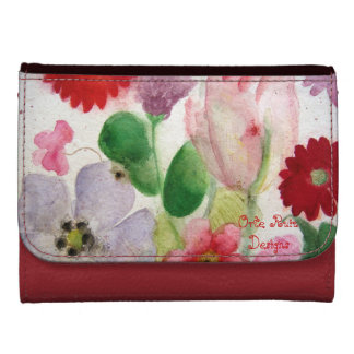 Flora Network and pink watercolor Tulip network pu Leather Wallets