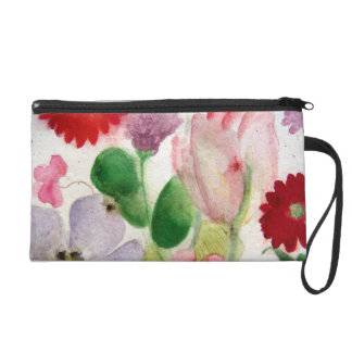 Flora Network and pink watercolor Tulip Wristlet Purse