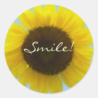Flora Photo - Bright and cheerful sunflower Classic Round Sticker