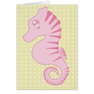 Flora the Cute Pink Seahorse Card