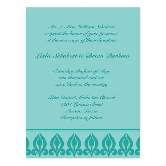 Flora Wedding Invitation-Teal/Teal Postcard