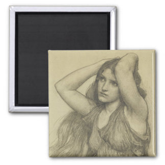 Flora with Long Hair 2 Inch Square Magnet