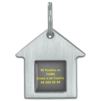 FLORA (Yellow on gray) Pet ID Tag