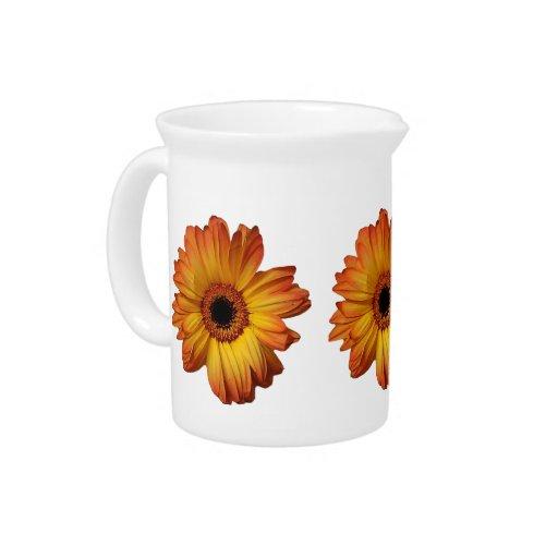 Floración anaranjada soleada de la flor del gerber jarras
