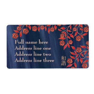"""Floración azul anaranjada """"unísono """" etiquetas de envío"""