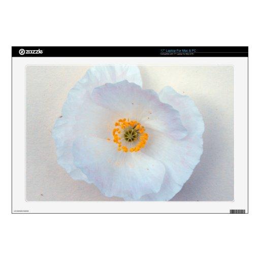 Floración blanca de la amapola simple y dulce portátil calcomanía