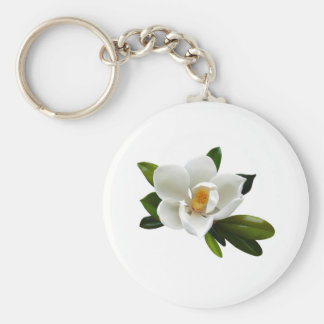 floración blanca de la magnolia llavero redondo tipo pin