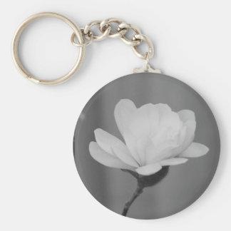 Floración blanco y negro del Centennial de la magn Llavero Redondo Tipo Pin