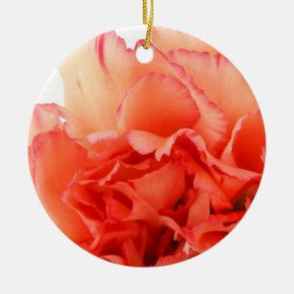 Floración coralina de la flor del clavel ornamento de navidad