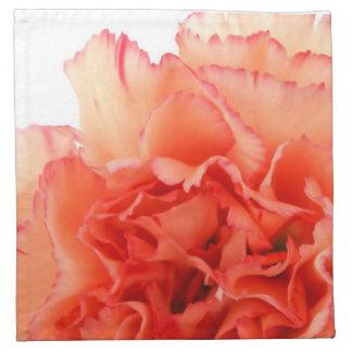 Floración coralina de la flor del clavel servilleta imprimida
