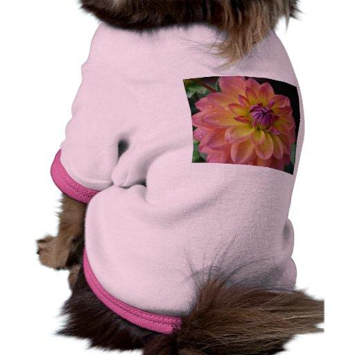 Floración de la flor de la dalia camiseta con mangas para perro