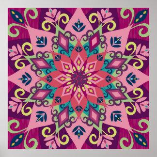 Floración de la mandala póster