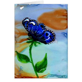 Floración de la mariposa tarjeta de felicitación