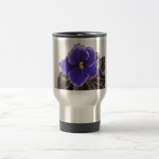 Floración de la violeta africana taza de viaje de acero inoxidable