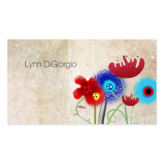 Floración de las amapolas del vintage tarjetas de visita