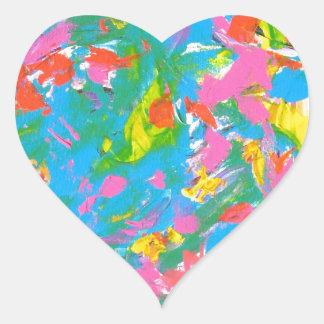 Floración de neón - arte abstracto calcomanía corazón personalizadas