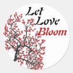 Floración del amor etiquetas redondas