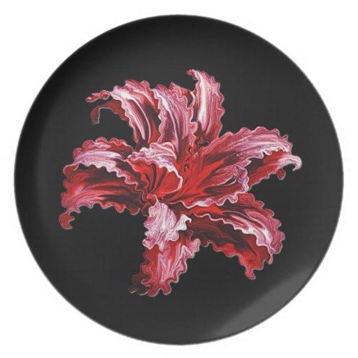 Floración del iris plato de cena