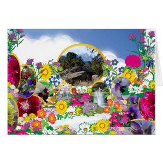 Floración del jardín de la cima de la montaña tarjeta de felicitación