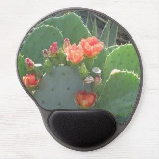 Floración del rojo del verde del cactus del higo alfombrilla de ratón con gel