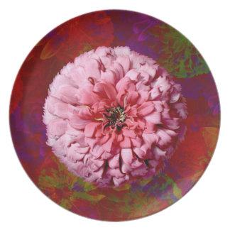 Floración del Zinnia sobre el collage floral abstr Plato
