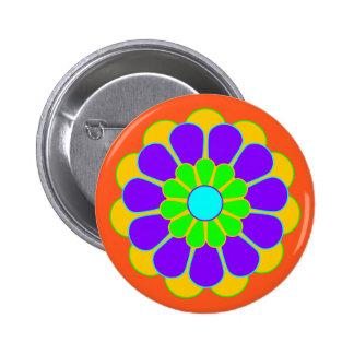 Floración divertida II del flower power + su Pin Redondo De 2 Pulgadas