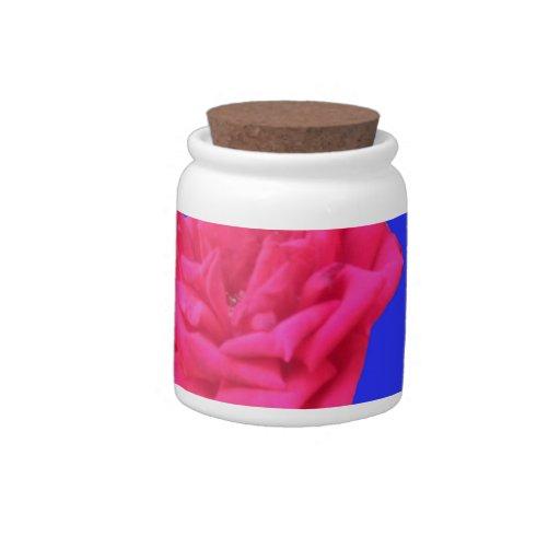 Floración donde plantado (azul) jarras para caramelos