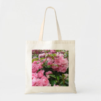 Floración donde usted está tote color de rosa plan