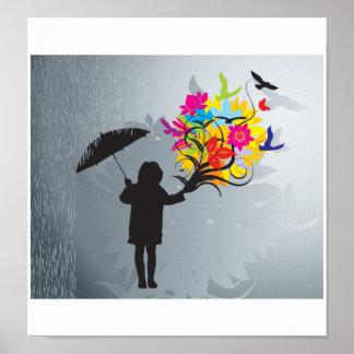 Floración en la impresión de la lluvia póster