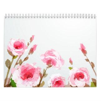 floración floral subió acuarela rosada del boho calendario de pared