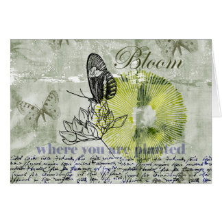 Floración inspirada de la mariposa tarjeta de felicitación