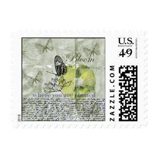 Floración inspirada de la mariposa timbres postales