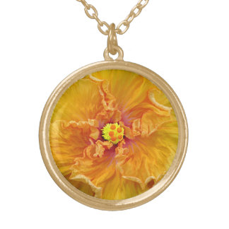 Floración rizada del hibisco collar dorado