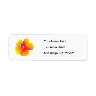 Floración roja y amarilla del hibisco etiquetas de remite