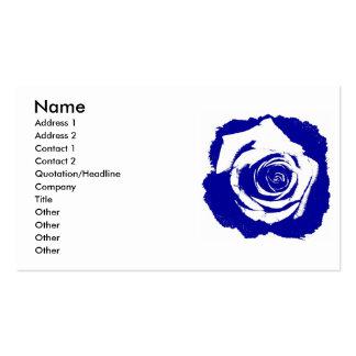 Floración subió azul y blanco posterized sólida tarjetas personales