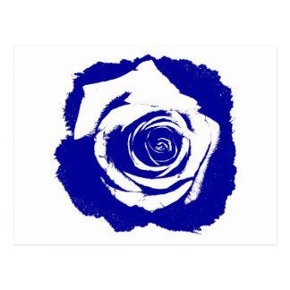 Floración subió azul y blanco posterized sólida tarjeta postal