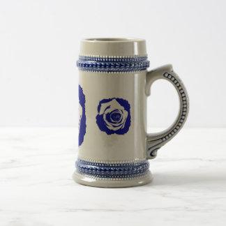 Floración subió azul y blanco posterized sólida jarra de cerveza