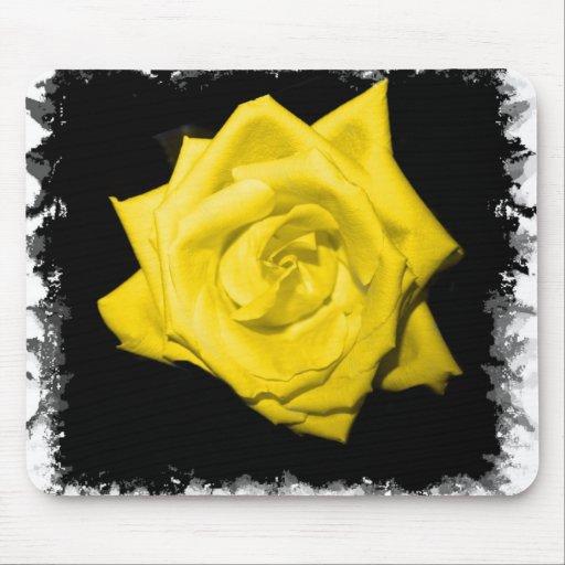 Floración subió coloreada solo amarillo alfombrillas de raton