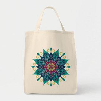 Floración-Turquesa y azules añiles de la mandala Bolsa Tela Para La Compra