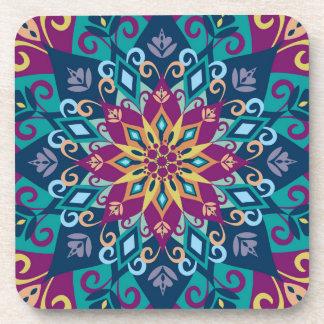 Floración-Turquesa y azules añiles de la mandala Posavasos De Bebida