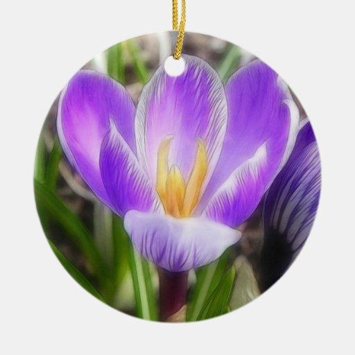 Floración y brote - azafranes adorno navideño redondo de cerámica